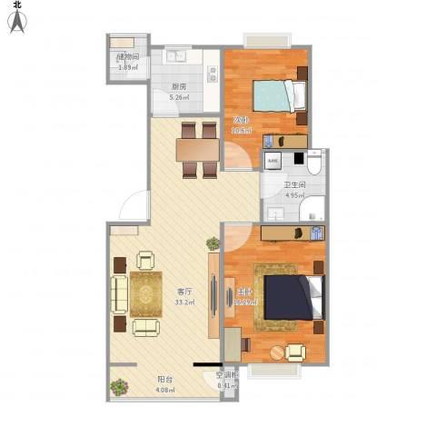 西青区付村华木里2室1厅1卫1厨78.21㎡户型图