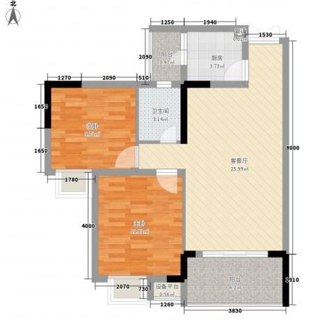 劲旅丽景花园2室1厅1卫1厨63.15㎡户型图