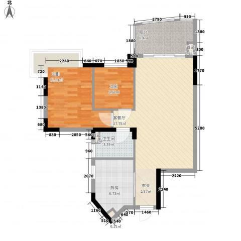 丽景花园2室1厅1卫1厨88.00㎡户型图