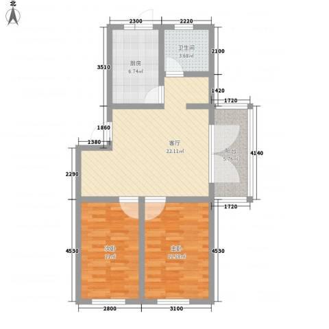 江尚逸品2室1厅1卫1厨61.58㎡户型图