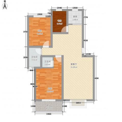 南海佳园3室1厅2卫1厨81.74㎡户型图
