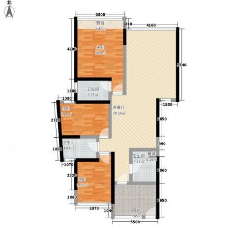 国际邮轮城一期3室1厅3卫0厨135.00㎡户型图