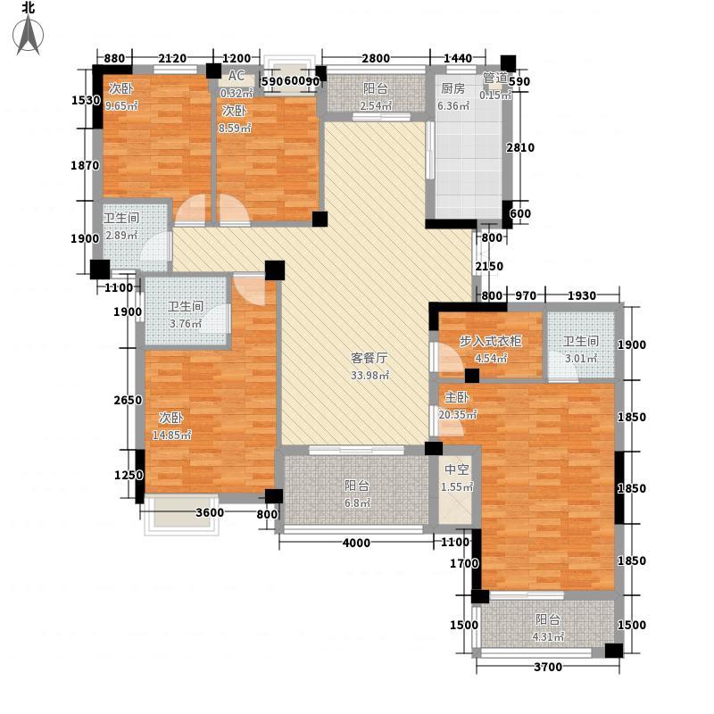 柏庄春暖花开155.00㎡13、18#楼R户型4室2厅3卫1厨