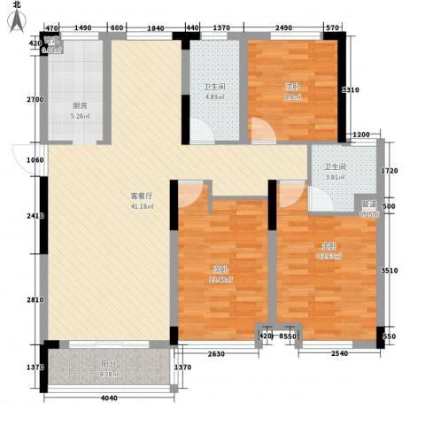 御源林城3室1厅2卫0厨128.00㎡户型图