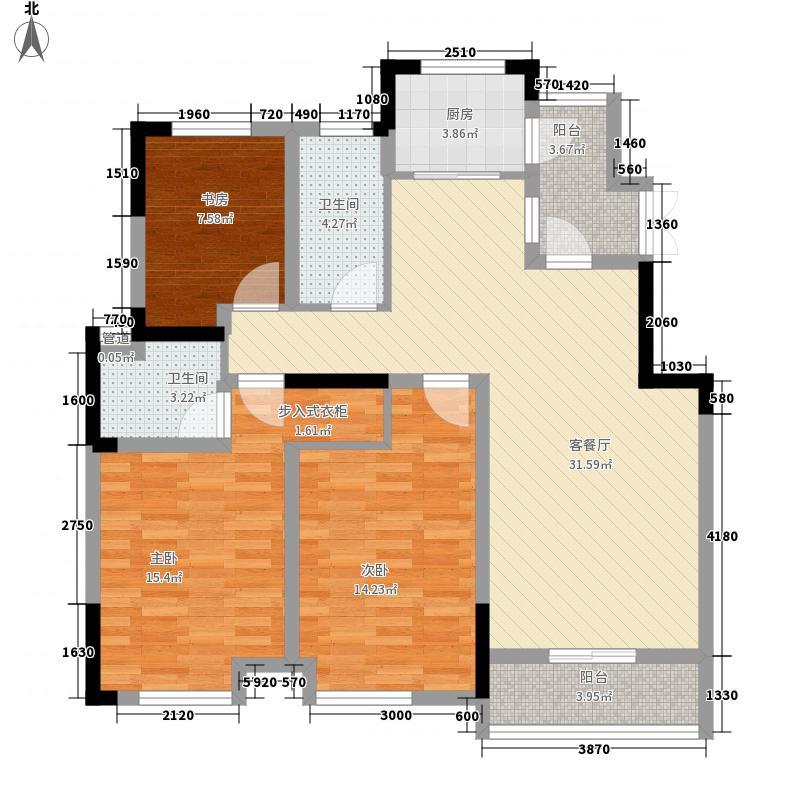 御源林城128.32㎡I(1期)户型3室2厅2卫1厨