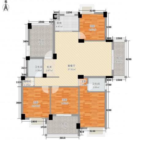 大东海花园4室1厅2卫1厨161.00㎡户型图