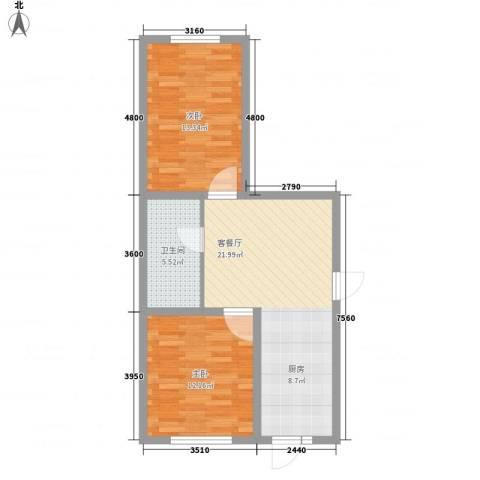 江尚逸品2室1厅1卫0厨53.01㎡户型图