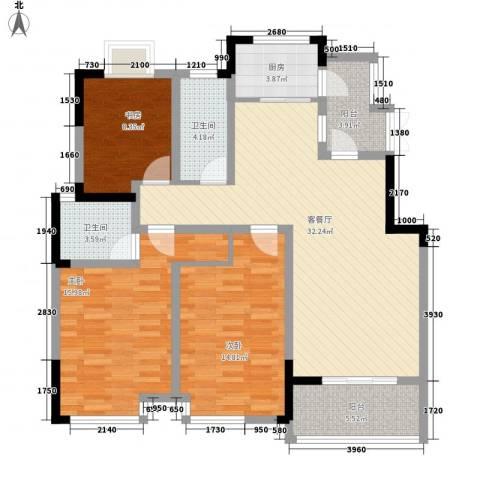 御源林城3室1厅2卫1厨134.00㎡户型图
