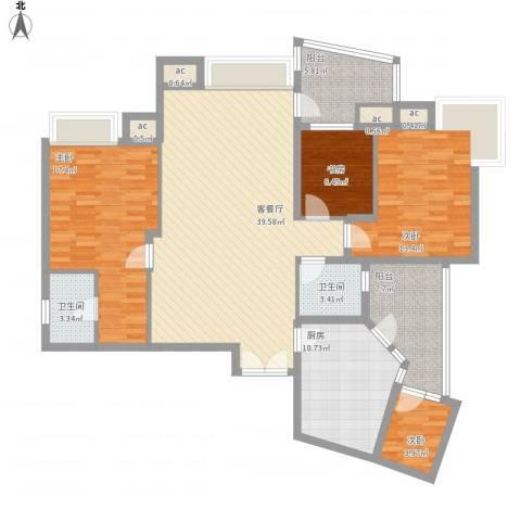 天域三期4室1厅2卫1厨163.00㎡户型图