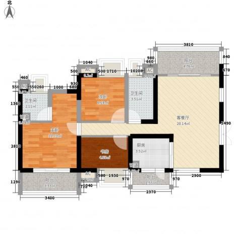 航仪新村3室1厅2卫1厨94.00㎡户型图