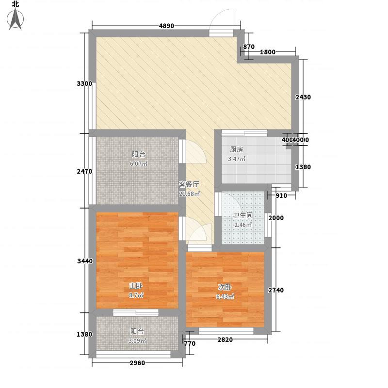 兴园77.00㎡小区户型2室