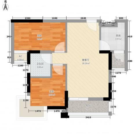 新华苑2室1厅1卫1厨66.00㎡户型图