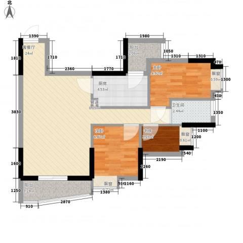 顺联新城花园3室1厅1卫1厨73.00㎡户型图