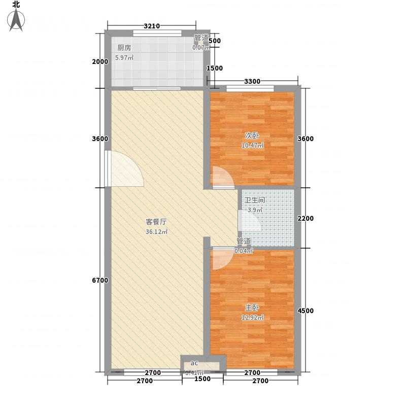 银海新城户型图K户型 2室2厅1卫1厨