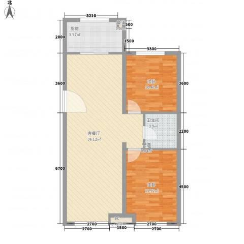 银海新城2室1厅1卫1厨96.00㎡户型图
