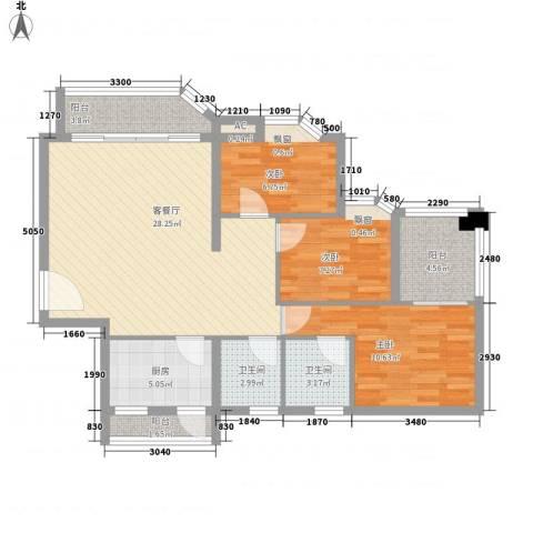 星河明居3室1厅2卫1厨108.00㎡户型图