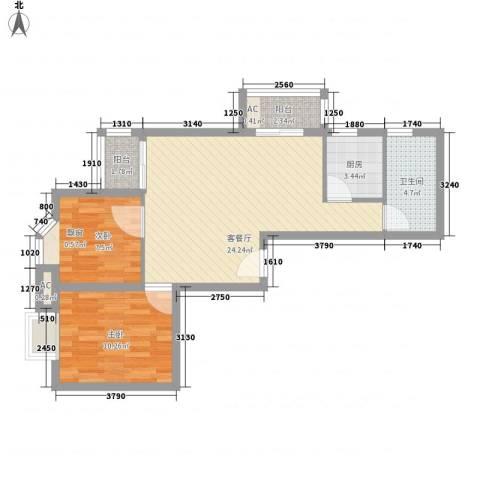 星河明居2室1厅1卫1厨79.00㎡户型图