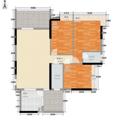 恒福新城3室1厅2卫1厨130.00㎡户型图
