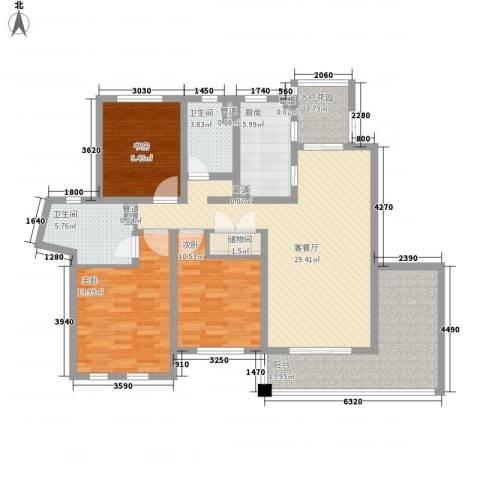尚东国际名园3室1厅2卫1厨146.00㎡户型图