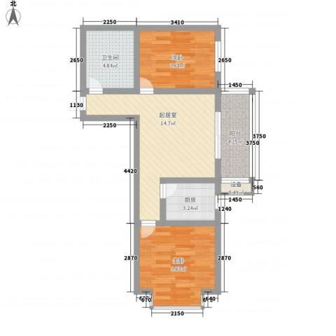 迎西城・龙湾佳园2室0厅1卫1厨67.00㎡户型图