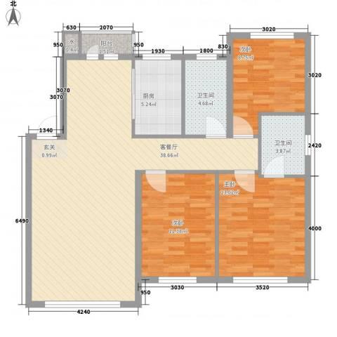 温莎小镇3室1厅2卫1厨116.00㎡户型图