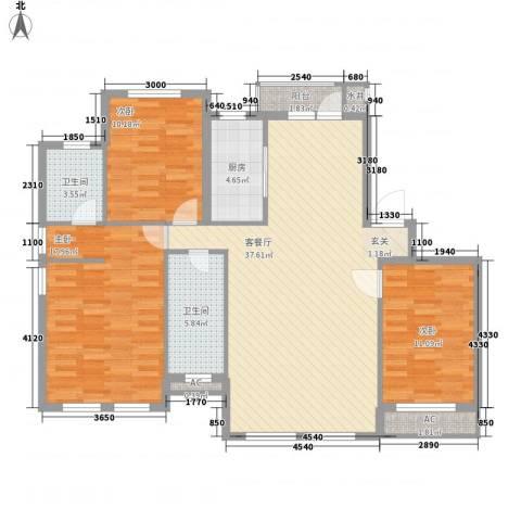 温莎小镇3室1厅2卫1厨124.00㎡户型图