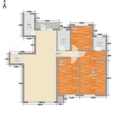 温莎小镇3室1厅2卫1厨128.00㎡户型图