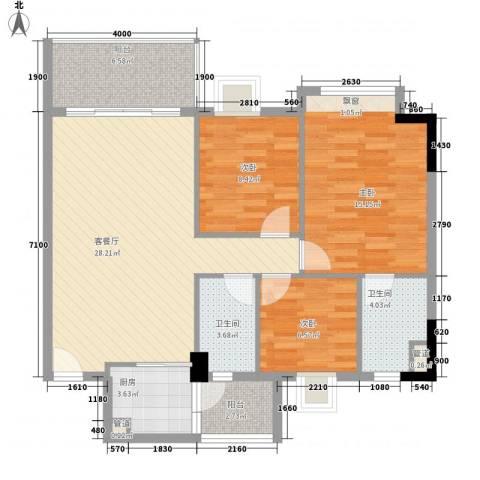 联华花园城3室1厅2卫1厨102.00㎡户型图