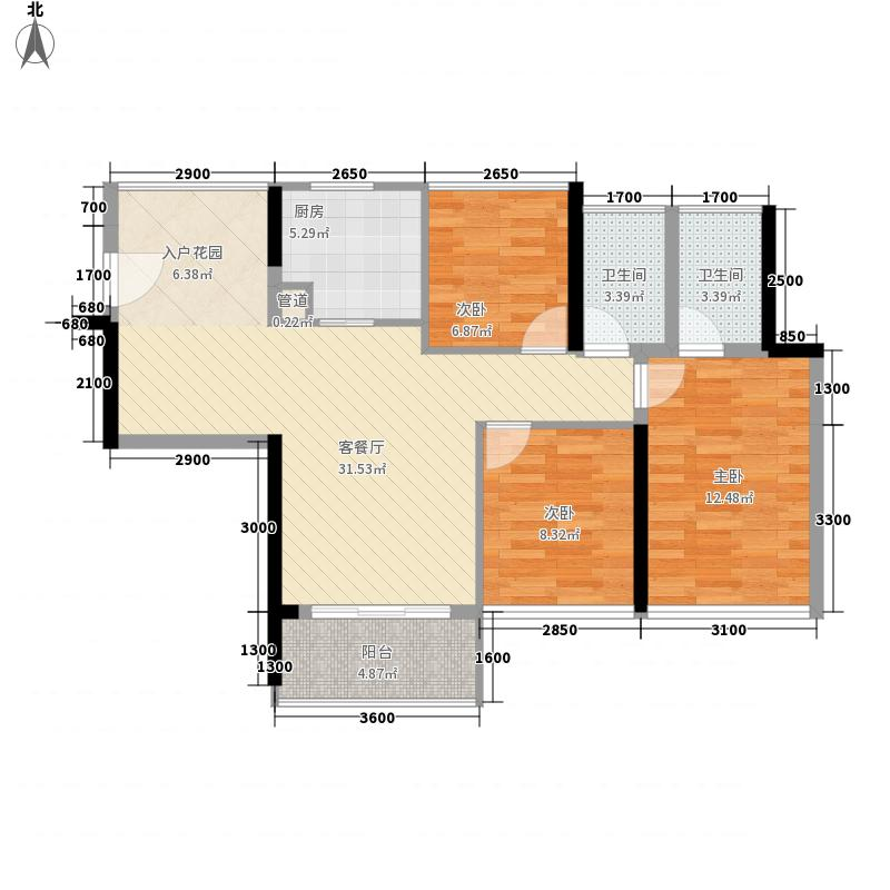 栖游记85.11㎡栖游记户型图2C户型3室2厅2卫1厨户型3室2厅2卫1厨