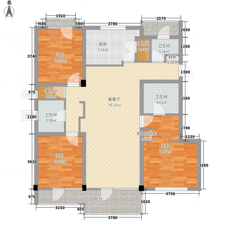 金隅丽港城143.82㎡J1户型3室2厅2卫1厨