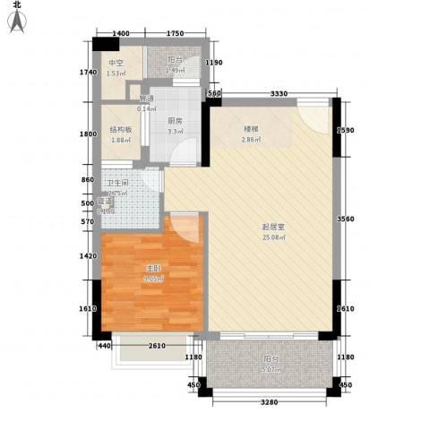 雍景家园1室0厅1卫1厨100.00㎡户型图