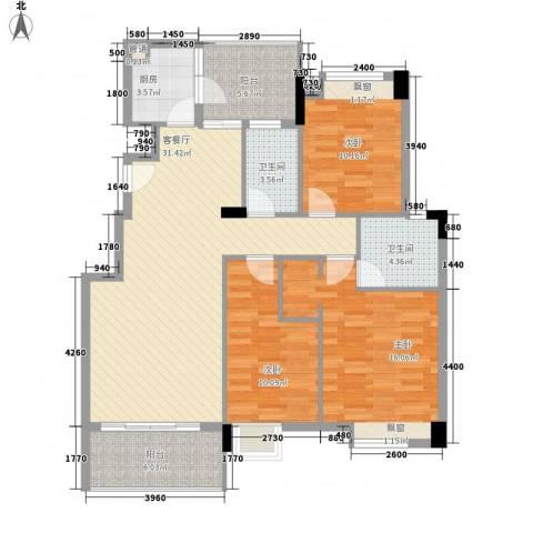 联华花园城3室1厅2卫1厨113.00㎡户型图