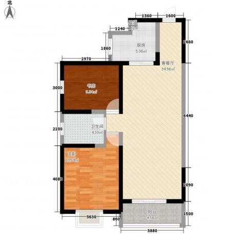 海�新天2室1厅1卫1厨104.00㎡户型图
