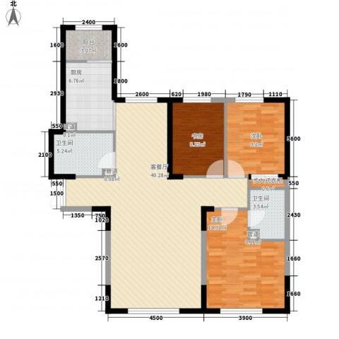 哈佛特区项目3室1厅2卫1厨91.54㎡户型图