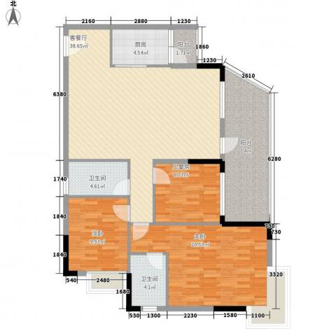 联华花园城3室1厅2卫1厨116.00㎡户型图