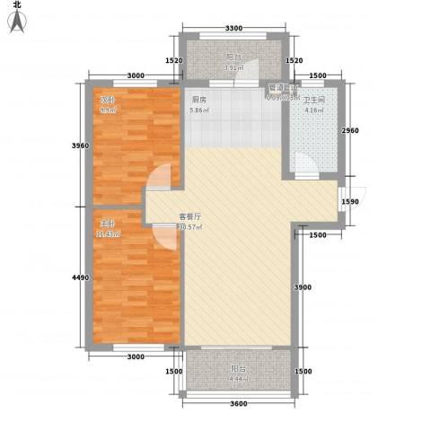 哈佛特区项目2室1厅1卫0厨65.00㎡户型图