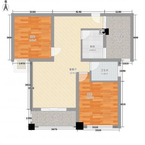 润泽东都二期宽域2室1厅1卫1厨89.00㎡户型图