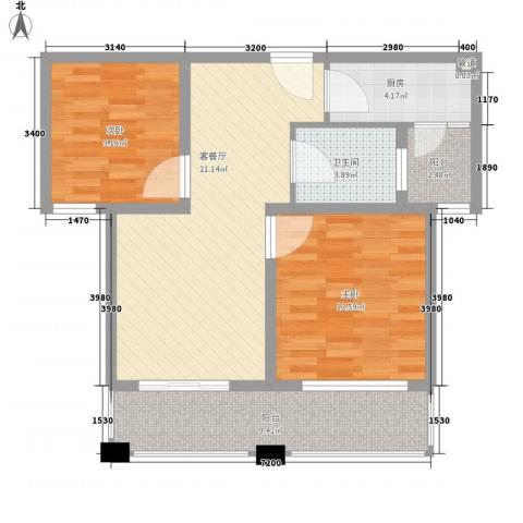润泽东都二期宽域2室1厅1卫1厨91.00㎡户型图