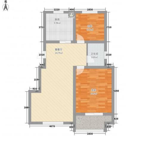 幸福美地2室1厅1卫1厨83.00㎡户型图