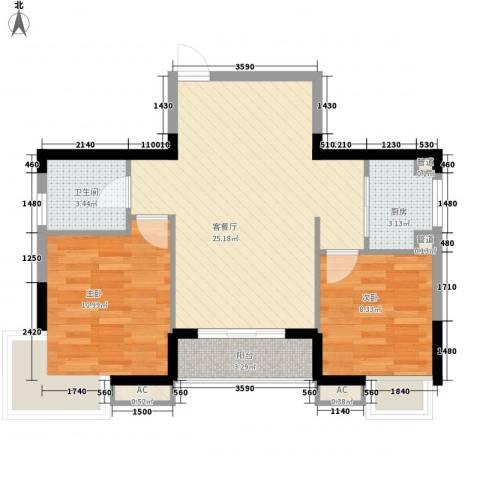 健逸天地恒星花园2室1厅1卫1厨80.00㎡户型图