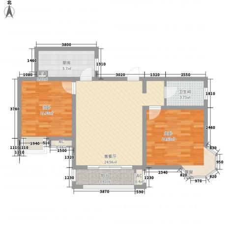 优山美地2室1厅1卫1厨93.00㎡户型图