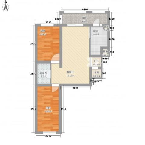 英伦名邸2室1厅1卫1厨64.00㎡户型图