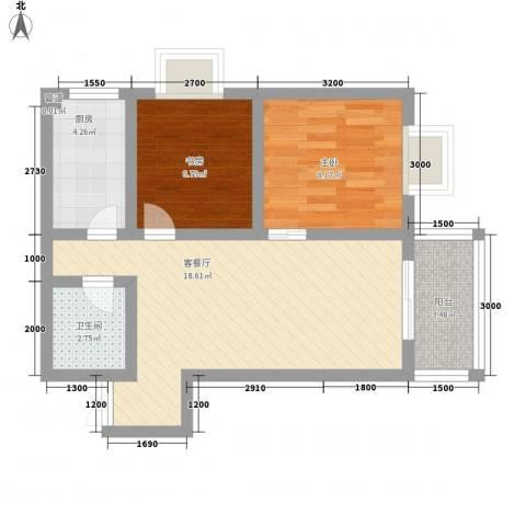 海�新天2室1厅1卫1厨83.00㎡户型图