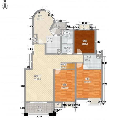优山美地3室2厅2卫0厨160.00㎡户型图