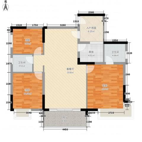 联华花园城3室1厅2卫1厨118.00㎡户型图