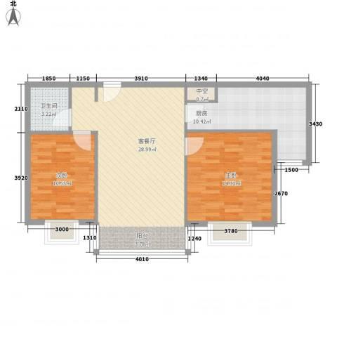 优山美地2室1厅1卫1厨95.00㎡户型图