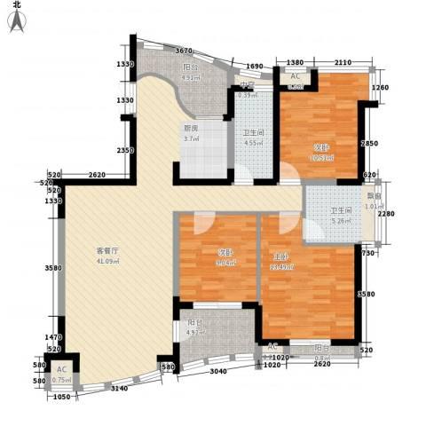 振业山水名城3室1厅2卫0厨140.00㎡户型图