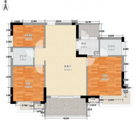 联华花园城3室1厅2卫1厨96.00㎡户型图