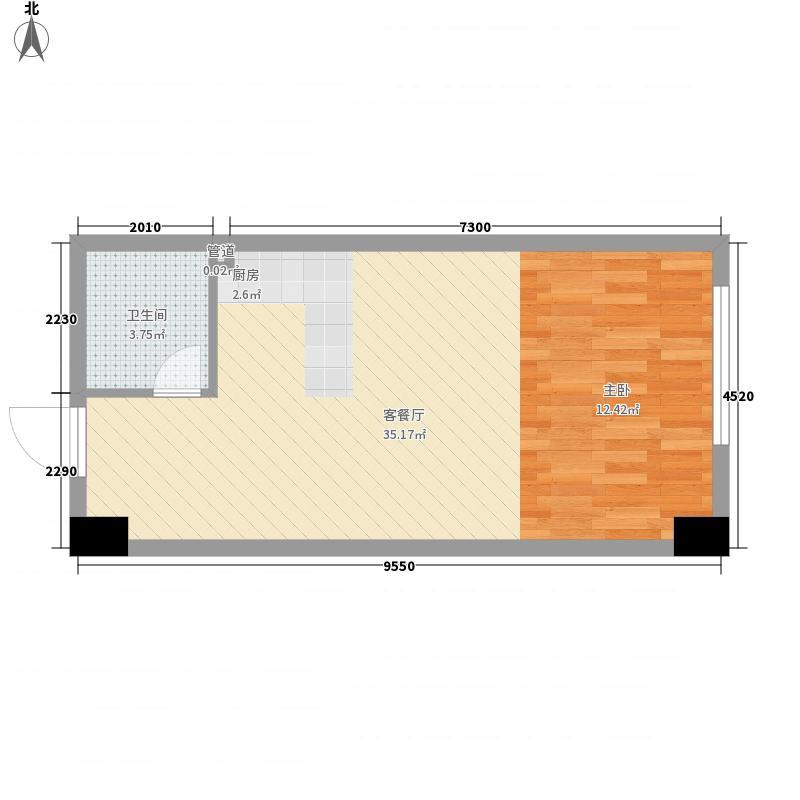 明发长江派对54.00㎡三期280#、281#、282#4-27层户型一户型1室1厅1卫1厨