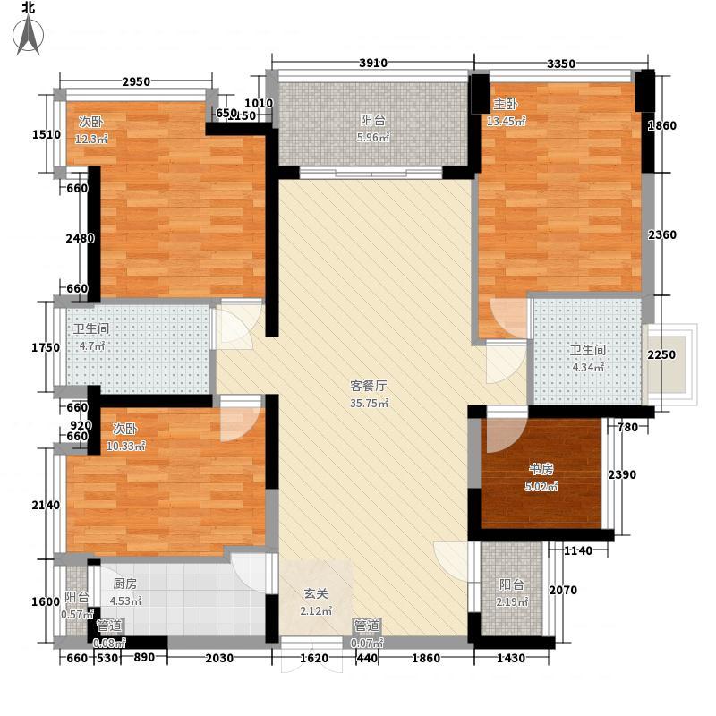 荔山公馆143.00㎡户型4室